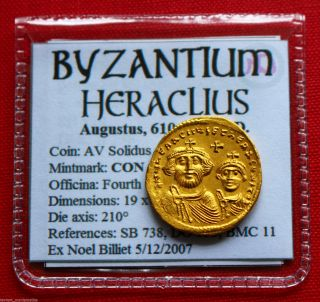 Heraclius Constantine Gold Solidus Cross Potent Byzantine Empire Coin photo