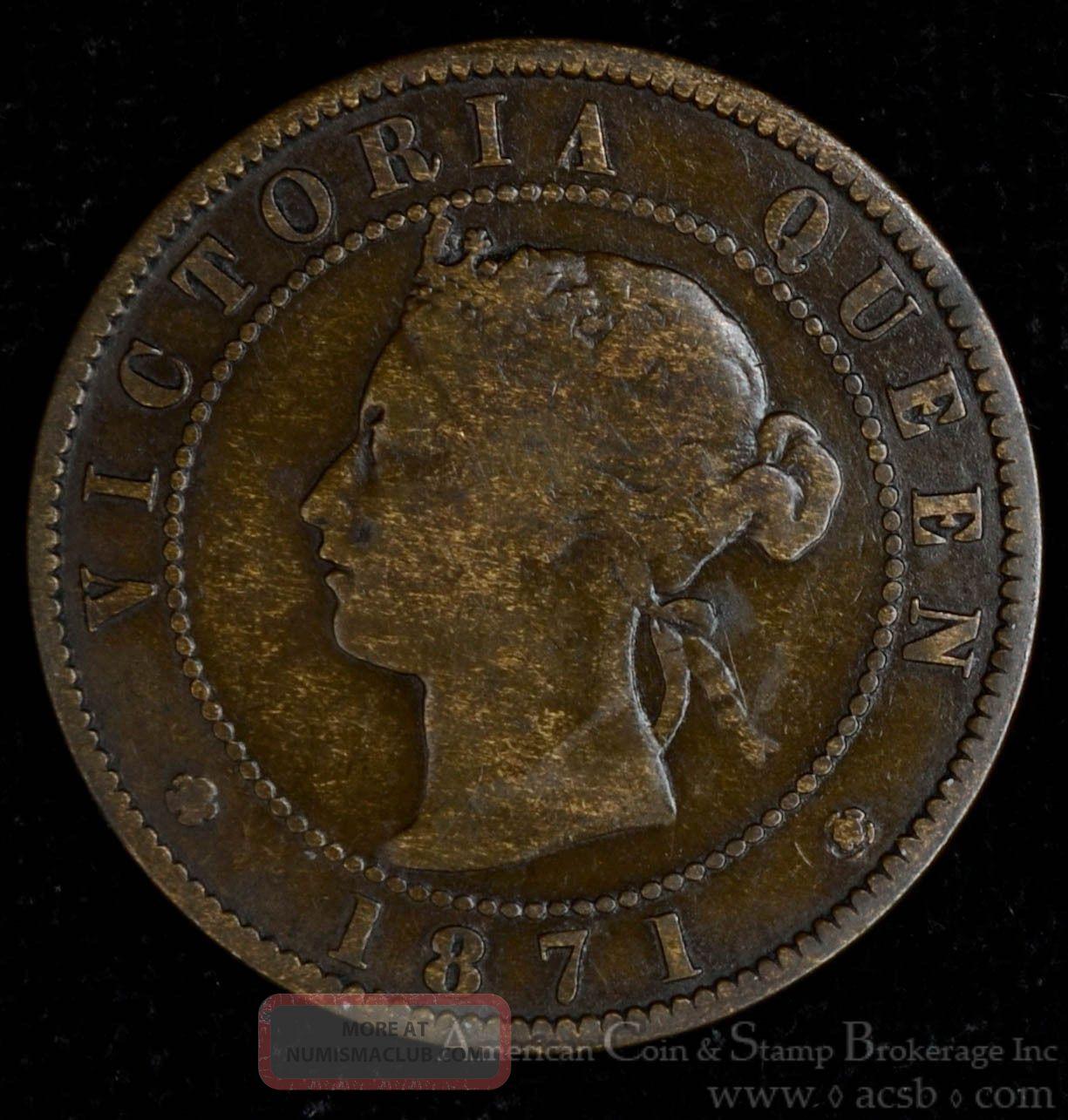 Prince Edward Island 1 Cent 1871 Bronze Km 4 Canada Queen Victoria Coin Rotation Coins: Canada photo