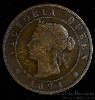 Prince Edward Island 1 Cent 1871 Bronze Km 4 Canada Queen Victoria Coin Rotation photo