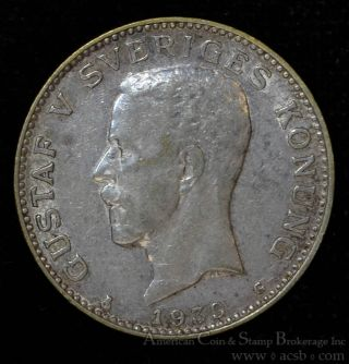 Sweden 1 Krona 1939 G Ef,  Silver Km 786.  2 Luster Still Remains Choice photo