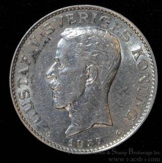 Sweden 1 Krona 1937 G Au/unc Silver Km 786.  2 Blazing Luster Ultra Choice photo