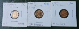 1859 - 1930 Guatemala,  Costa Rica,  Egypt Gold Coinage,  Nr photo