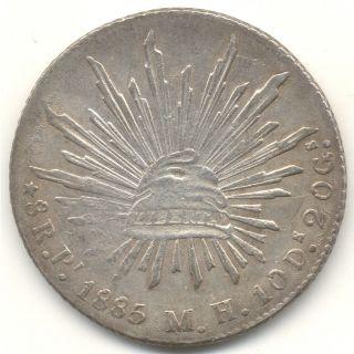 Mexico,  1885 Pi Mh San Luis Potosi,  Silver 8 Reales,  (inv 138) photo