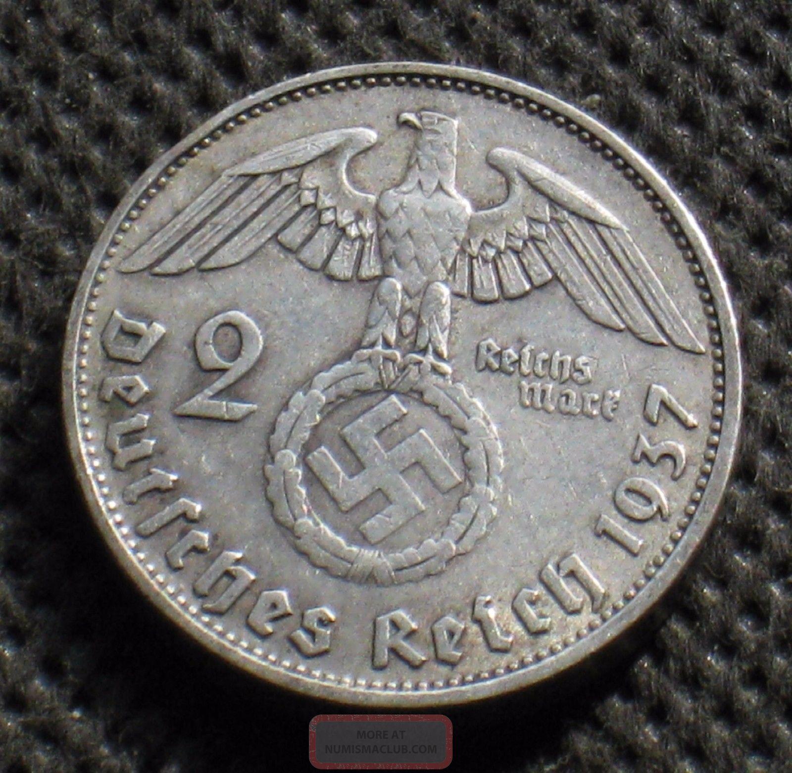 Old Silver 2 Reichsmark Coin Nazi Germany Swastika 1937 A Berlin World War Ii - 2 Germany photo