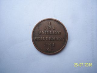 1841 Norway One - Half Skilling Copper photo