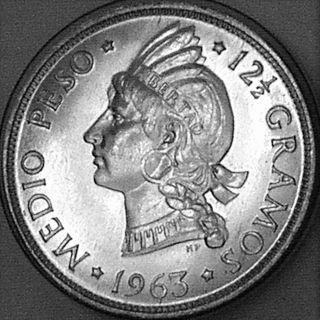Dominican Republic 1963 1/2 Peso Final Silver Issue - - - Very Choice Bu - - - photo
