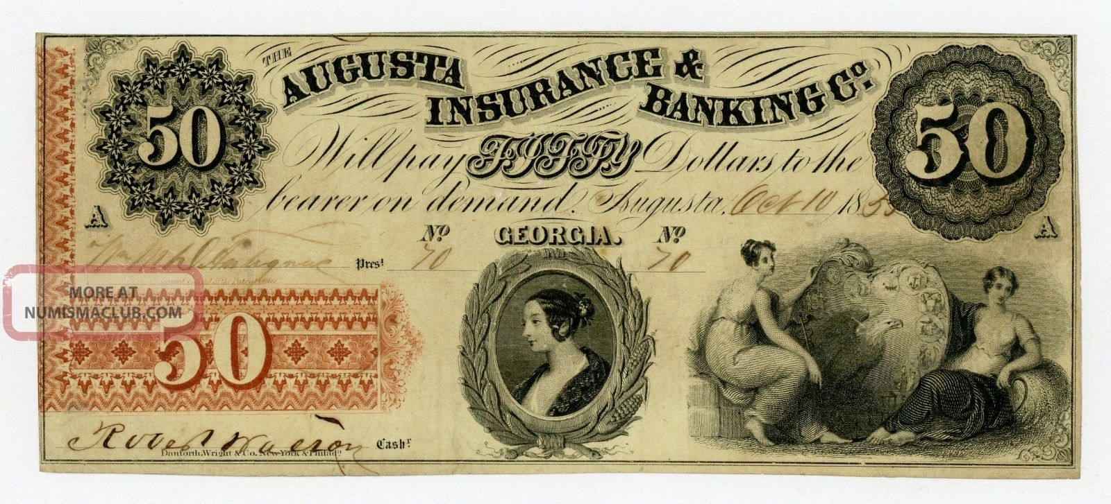 1855 $50 The Augusta Insurance & Banking Co.  - Georgia Note Paper Money: US photo