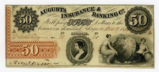 1855 $50 The Augusta Insurance & Banking Co.  - Georgia Note photo