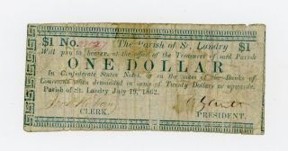 1862 $1 The Parish Of St.  Landry - Opelousas,  Louisiana Note Civil War Era photo