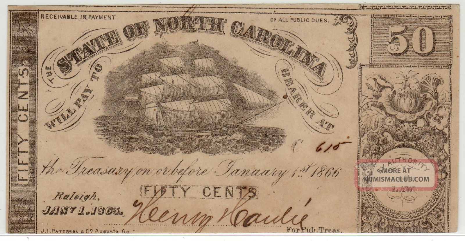 State Of North Carolina 1.  1.  1863 50¢ Ch Xf Paper Money: US photo