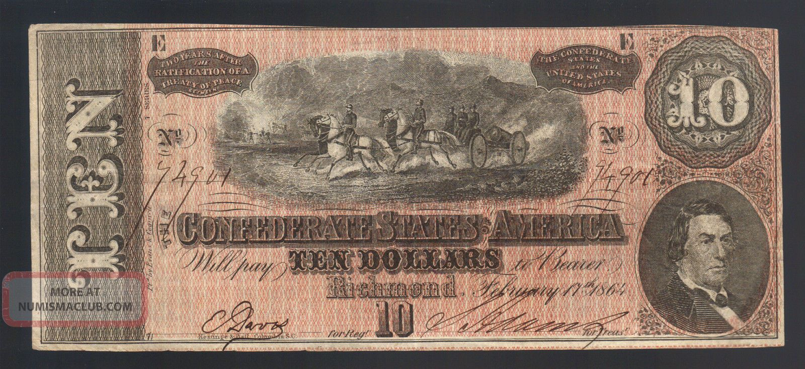 $10 Dollar 1864 Civil War Confederate Currency Richmond Va Ga Tn Note T - 68 Bill Paper Money: US photo
