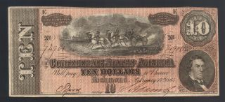$10 Dollar 1864 Civil War Confederate Currency Richmond Va Ga Tn Note T - 68 Bill photo