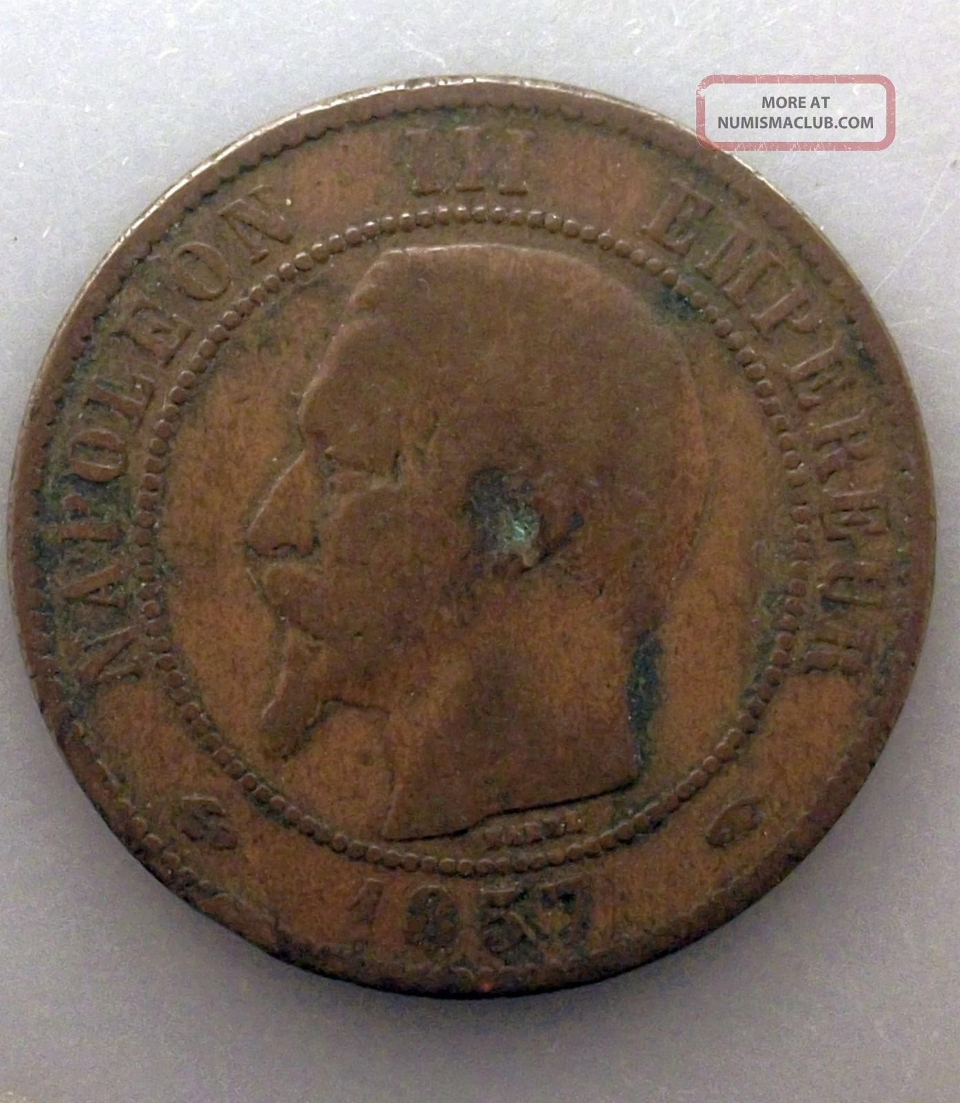 France 10 Centimes,  1857 A Km 771.  1 Puqrqy France photo