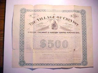 1903 Village Of Cheviot Cincinnati $500 Bond For Harrison Turnpike Good photo