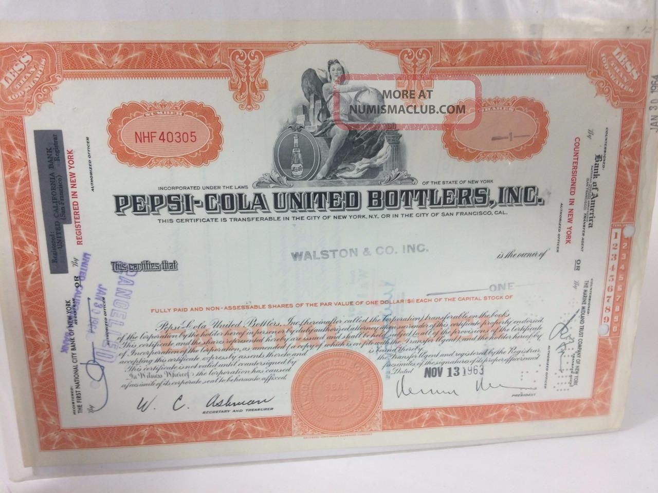 Pepsi - Cola United Bottlers Capital Stock Certificate One Share 1963 Vintage Stocks & Bonds, Scripophily photo
