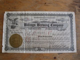 Antique 1914 Billings Brewing Company Stock Certificate Montana Beer Bpoe Elks photo