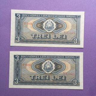 Romania Consecutive 3 Lei 1966 Choice Unc Banknote P 92. photo
