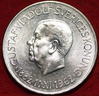 Uncirculated 1962 Sweden 5 Kroner Silver Foreign Coin S/h photo