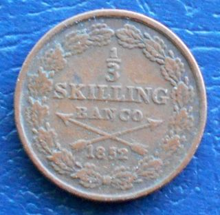 1852 Sweden 1/3rd Skilling Banco Oscar I Circulated Crossed Arrows Lb 37 photo