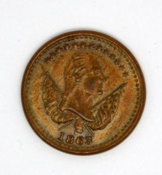 1863 Civil War Copper Token Storecard Washington / Peace Handshake F 118/418a photo