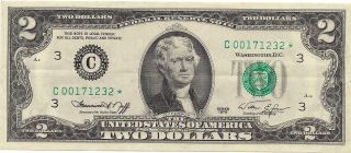 1976 Two Dollar $2 Federal Reserve Star Note - Philadelphia - C00171232 Circ. photo