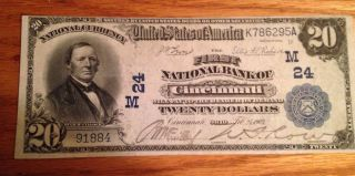 Cincinnati Ohio,  The First National Bank 1902,  $20 Date Back photo