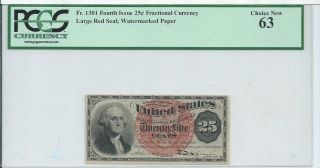 Washington 4th Issue Red Seal 25 Cents United States Fractional Currency Fr1301 photo
