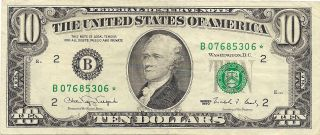 1990 Ten Dollar $10 Federal Reserve Star Note - York - B07685306 photo