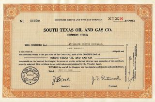 Vintage South Texas Oil & Gas Co.  Common Stock Certificate,  100 Shares - 1956 photo