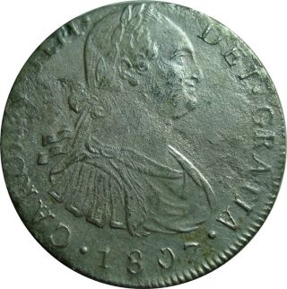 1807 Guatemala 8 Reales Ng M.  - Scarce Silver Coin In Km: 53 photo
