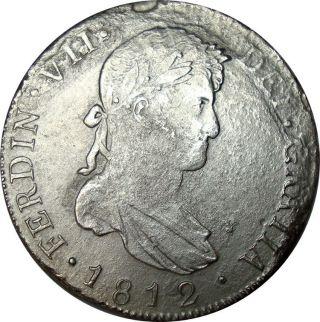 1812 Guatemala 8 Reales Ng M.  Silver Coin In Km: 69 photo