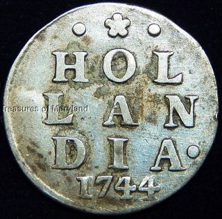 1744 Dutch Colonial York Silver Dime 2 Stuivers