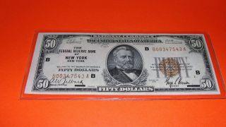Fr - 1880b 1929 Series $50 Fifty Dollars N.  Y.  Federal Reserve Bank Note Xf,  /au photo
