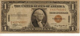 1935 - A $1 Hawaii Overprint,  Silver Certificate,  Medium Grade Note (p - 19) photo