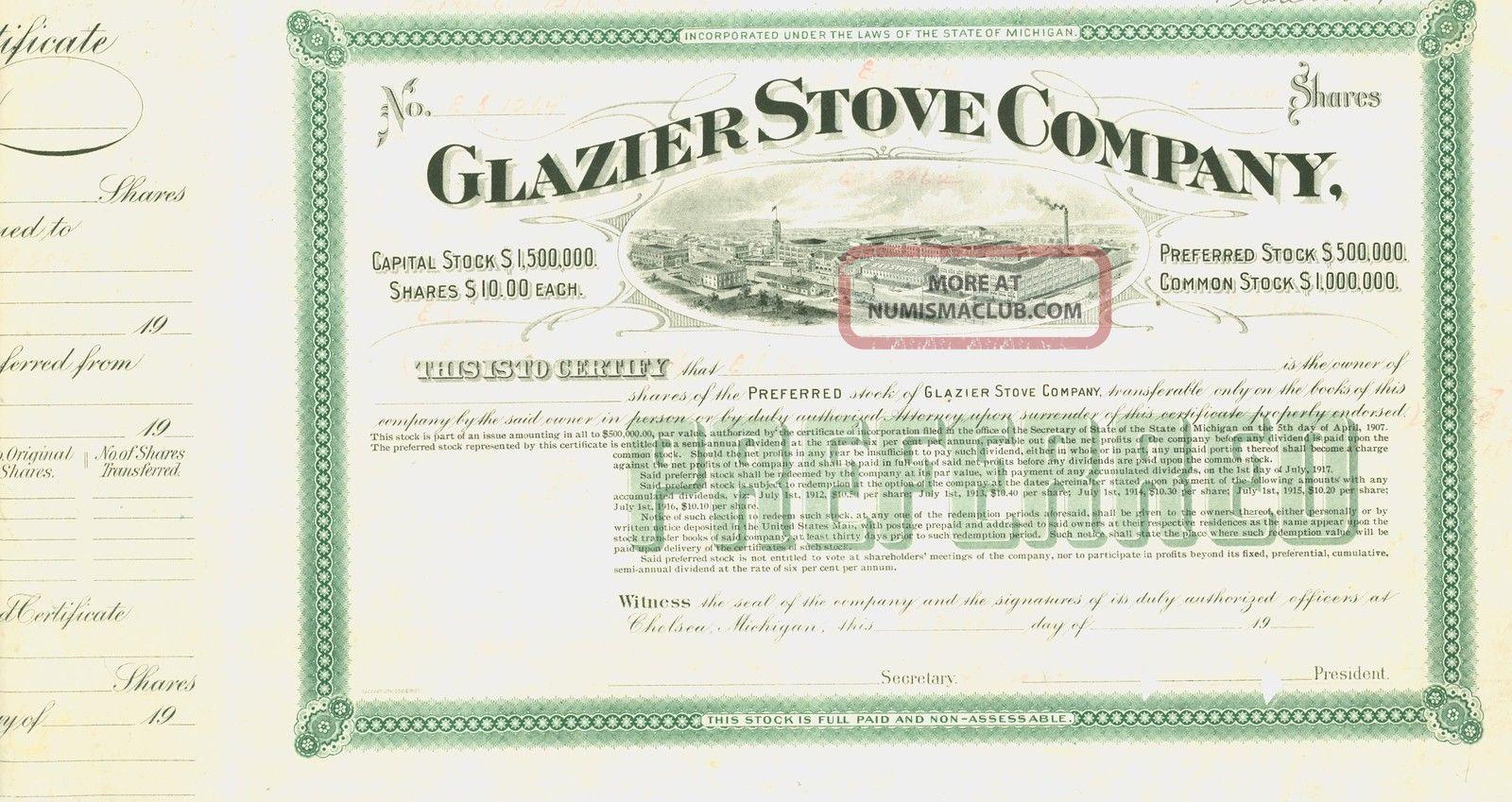 Glazier Stove Company - Unissued Stock Certificate - Printer Mark Up Copy Stocks & Bonds, Scripophily photo