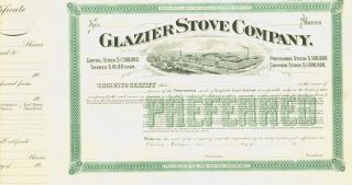 Glazier Stove Company - Unissued Stock Certificate - Printer Mark Up Copy photo
