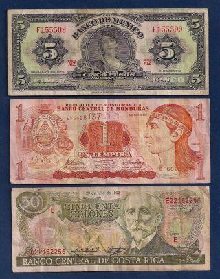 Mexico 5 Pesos 1963 P - 60h,  Honduras Lempira,  Costa Rica 50 Colones P - 257a photo