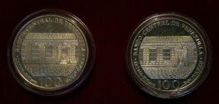 A Pair (2) Venezuela 100 Bolivares 200th Birth Of Simon Bolivar Silver 900. photo