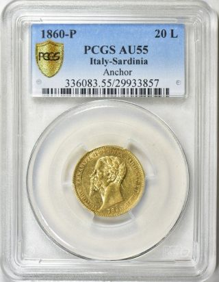 1860 Gold 20 Lire Italy Sardinia,  Scarce,  Pcgs Au - 55 photo