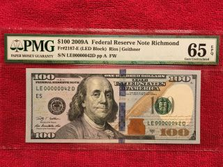 2009a Fr.  2187 - E $100 Frn 2 Digit Low Number 00000042 Pmg 65 Epq photo