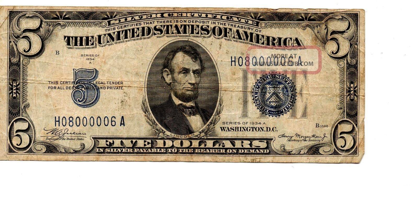 1934 A $5 Silver Certificate,  Large Blue Seal,  Circulated Small Size Notes photo