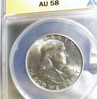 1949 Franklin Half Dollar Au58 Anacs photo