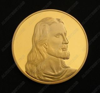 Jesus Christ Last Supper Son Of God Christian 24k Gold Plated Coin Token photo