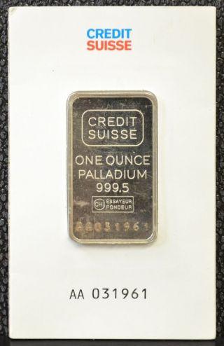 Credit Suisse One Ounce (1 Oz. ) Palladium Bar Assay Card, photo