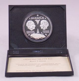 1972 Jamaica $10 Sterling Silver Proof 10th Anniversary Of Independence Coin photo