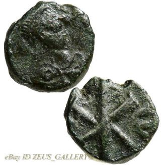 Justin I / Chi - Rho X - P Christogram Ancient Byzantine Small Coin Vf Pentanummium photo