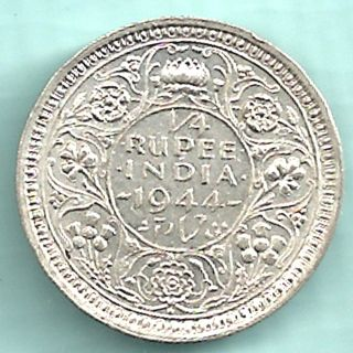 British India - 1944 - King George Vi Emperor - 1/4 Rupee - Rarest Date Silver photo