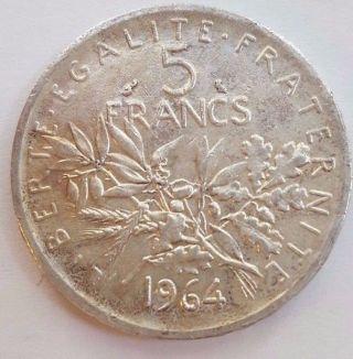 Fance 5 Francs 1964 Asw 0.  3221 Oz photo