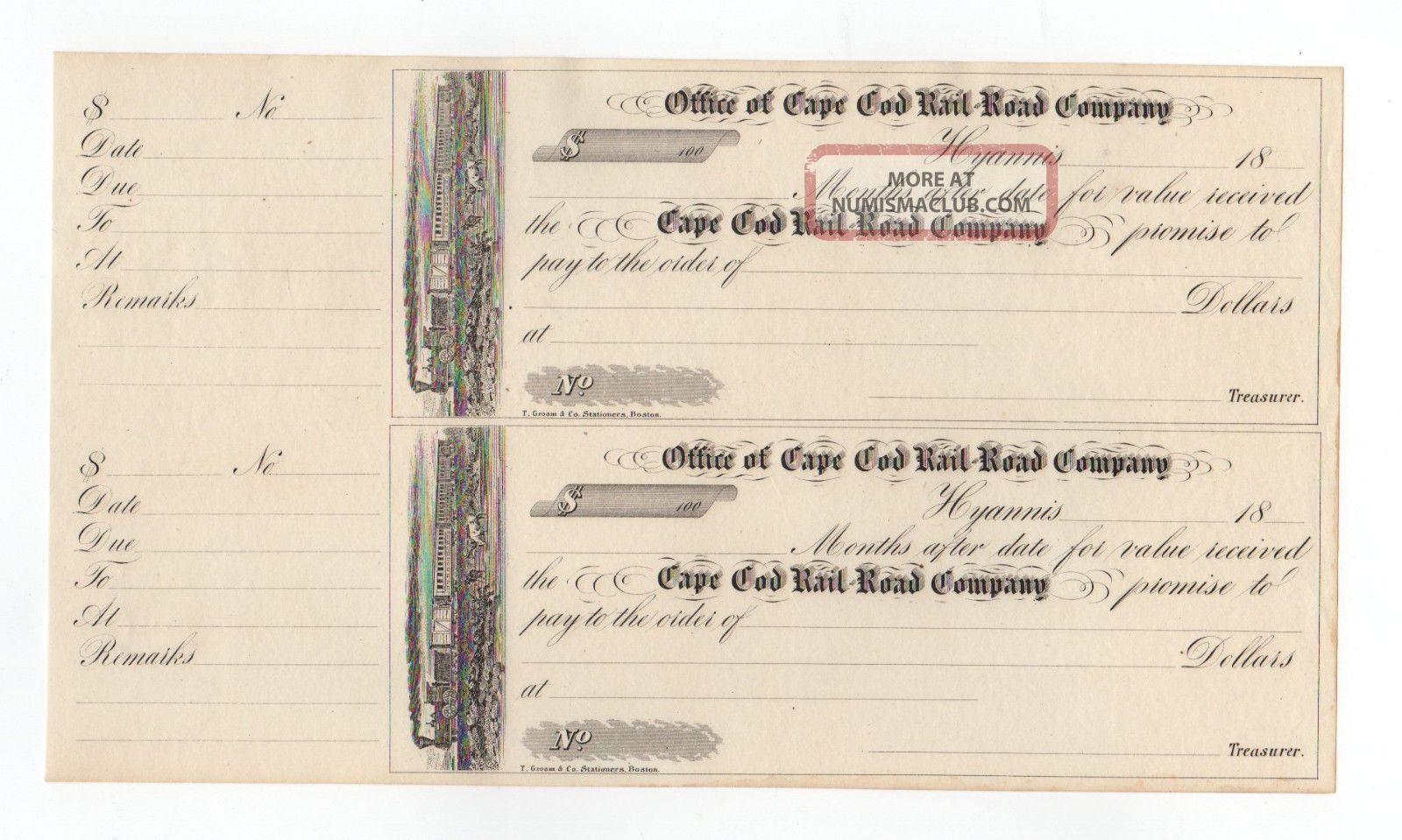 Uncut Sheet Cape Cod Railroad Co.  Checks Paper Money: US photo