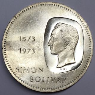 South America Venezuela 1973 10 Bolivares Silver Simon Bolivar Crown Coin photo